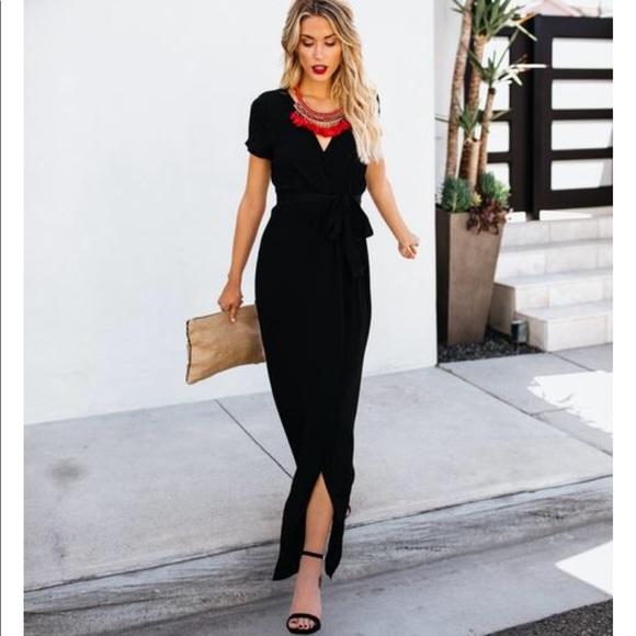 22411f8f69 VICI Dolls short sleeve black Bardot wrap dress. M_5b194d688ad2f904f7fdf598